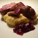 Eendenborst met pastinaak aardappelpuree met cranberrysaus